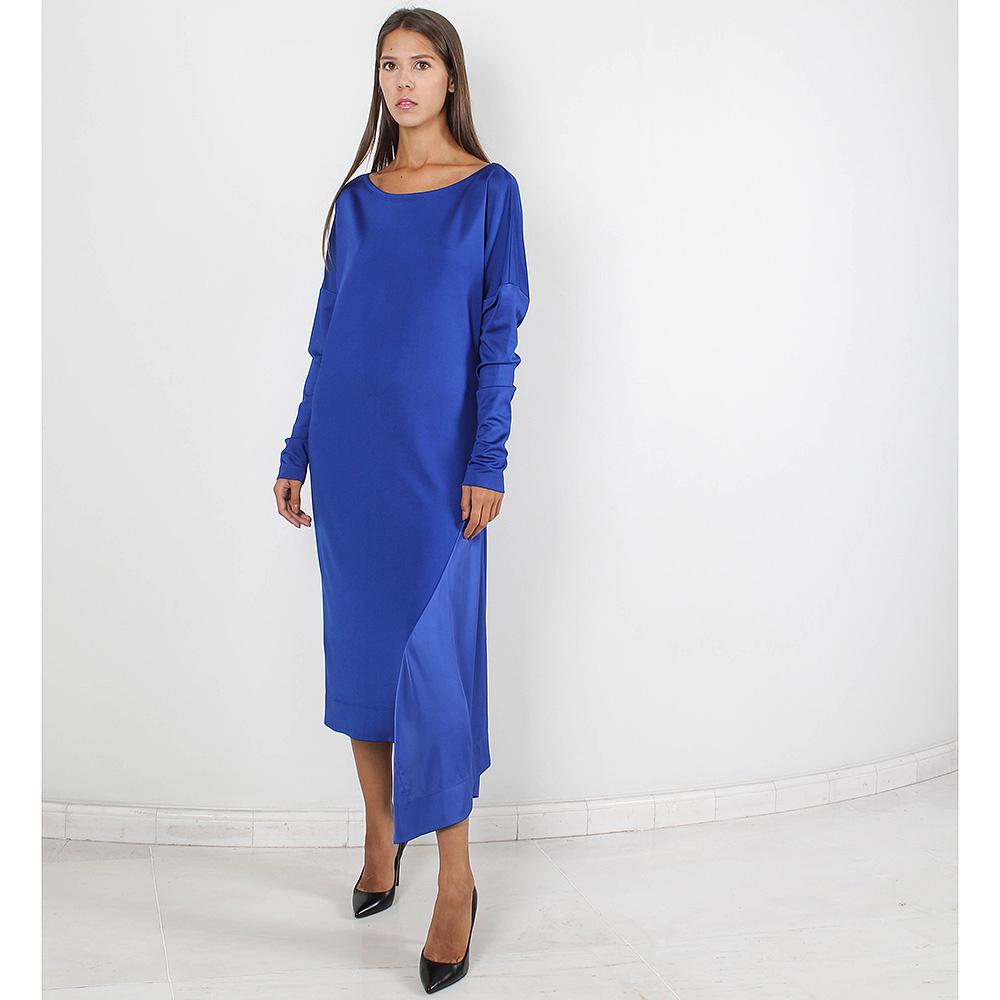 Трикотажное платье Forever Unique синее с шелковой вставкой
