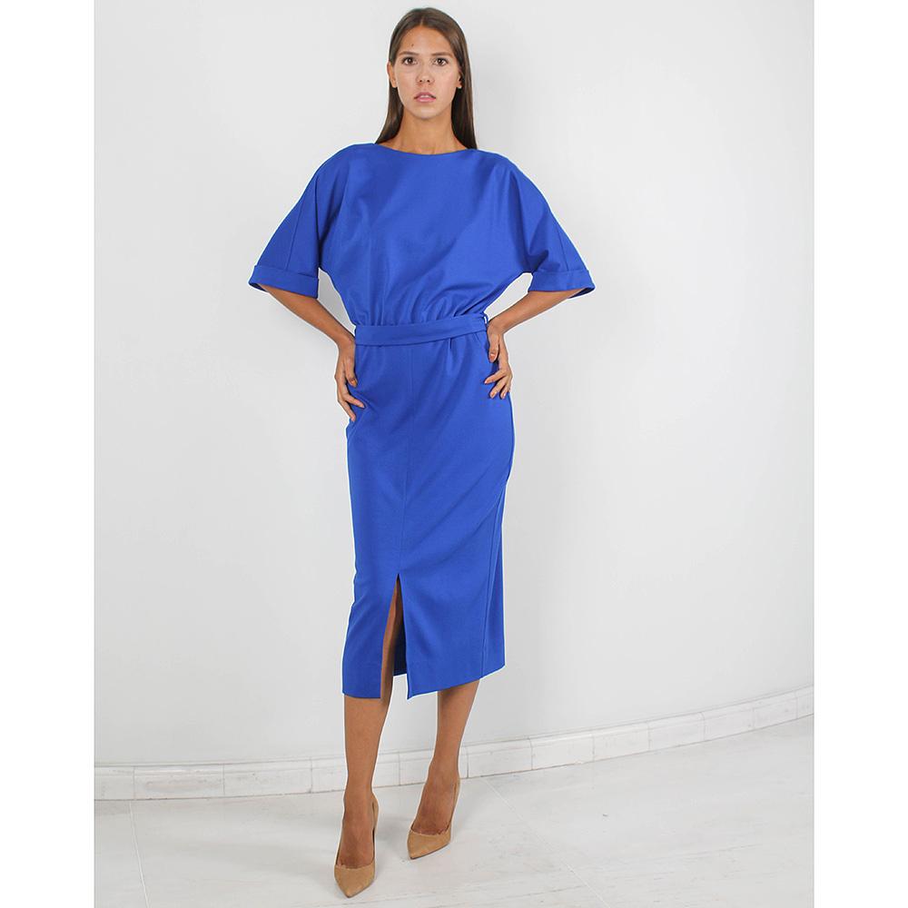 Синее платье-миди Forever Unique с разрезом и рукавом до локтя