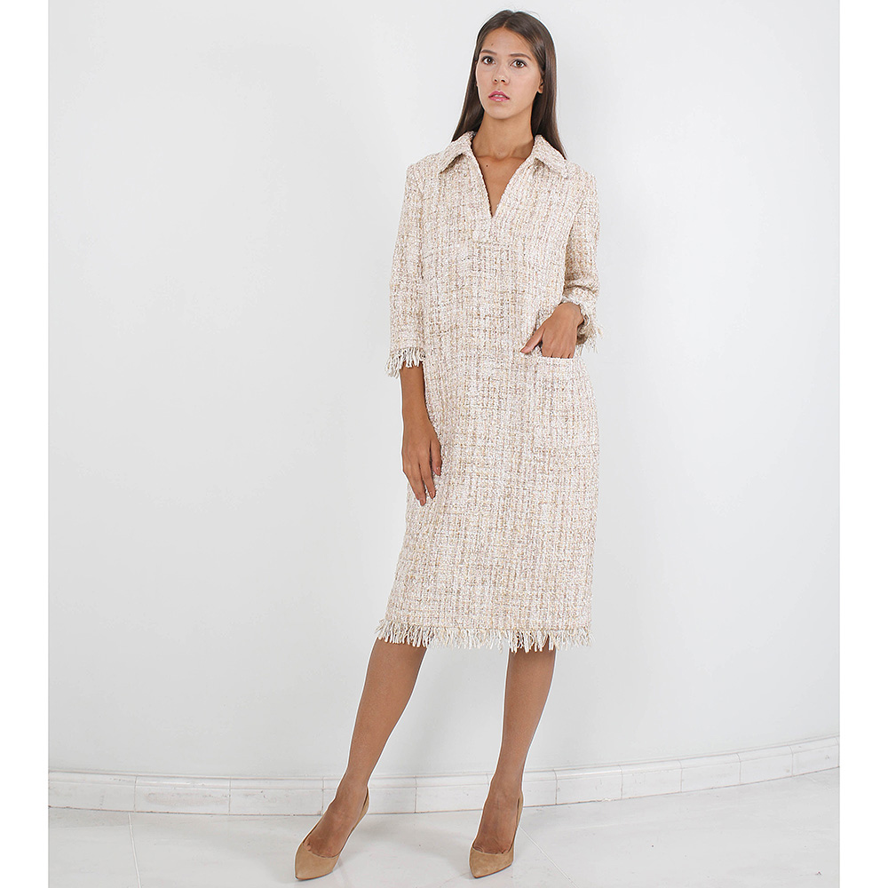 Твидовое платье Forever Unique бежевого цвета