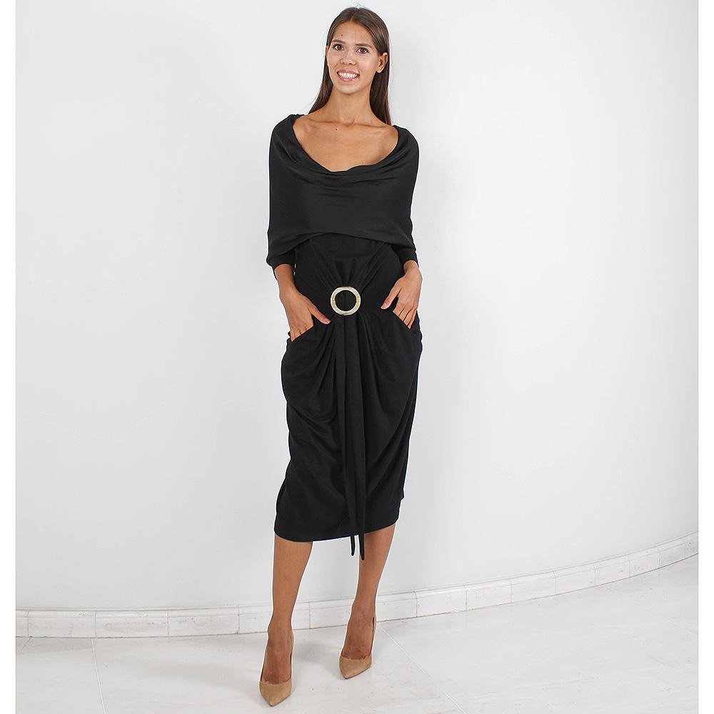Платье Plein Sud черного цвета оверсайз с золотистой пряжкой