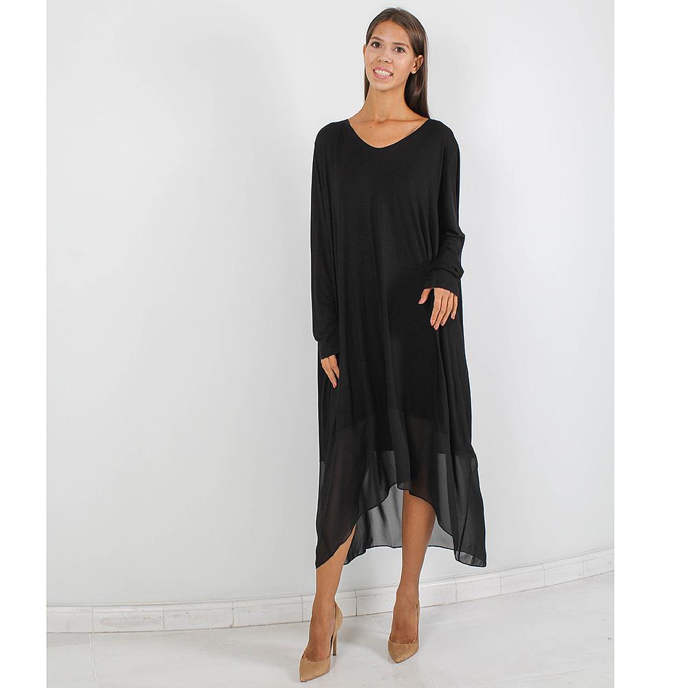 Платье оверсайз Forever Unique черного цвета с шифоновой юбкой