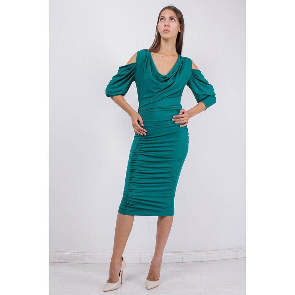Коктейльное платье Plein SUD зеленое с драпировкой