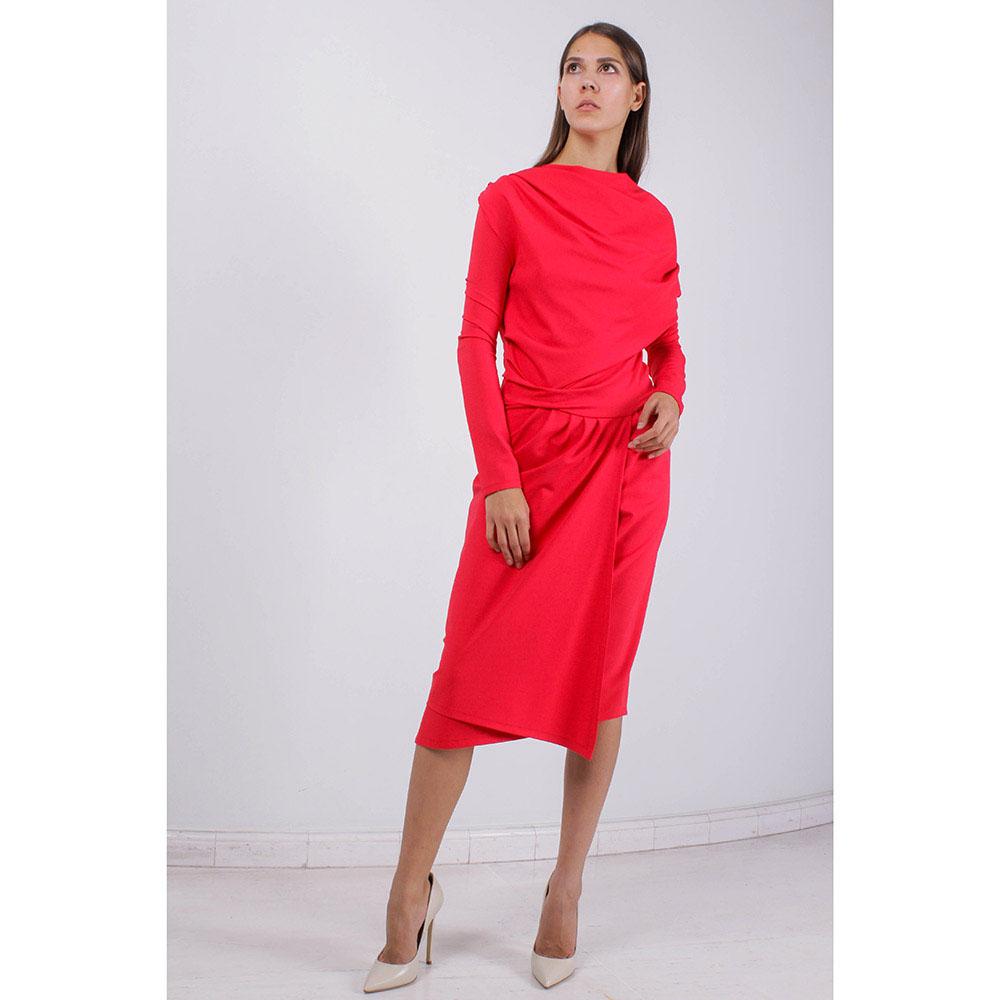 Красное платье Plein SUD со свободным верхом и имитацией запаха