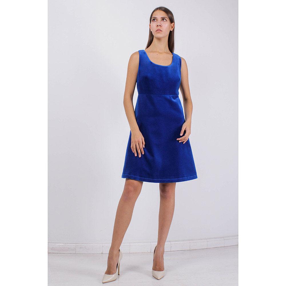 Велюровое платье KS синего цвета с юбкой-трапецией