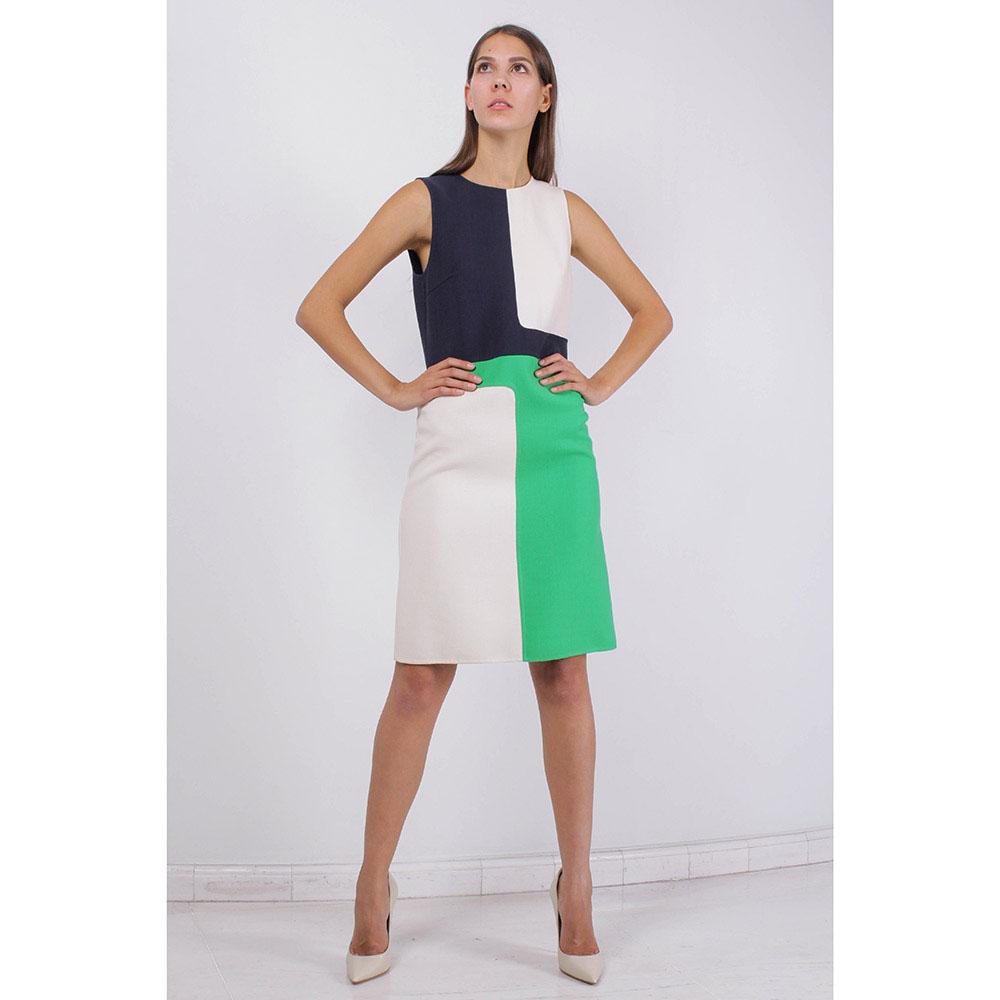 Платье без рукава Michael Kors белое с зелеными и синими вставками