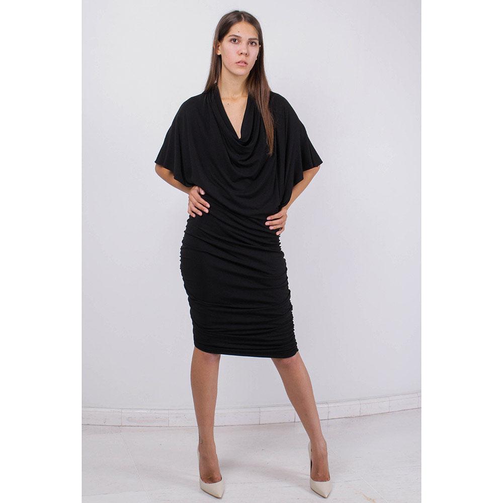 Трикотажное платье Michael Kors черного цвета с драпировкой на юбке