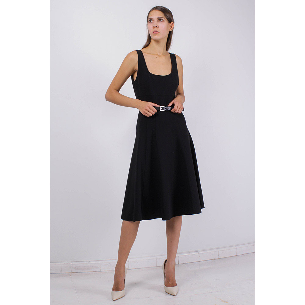Черное платье без рукава Michael Kors с юбкой-клеш