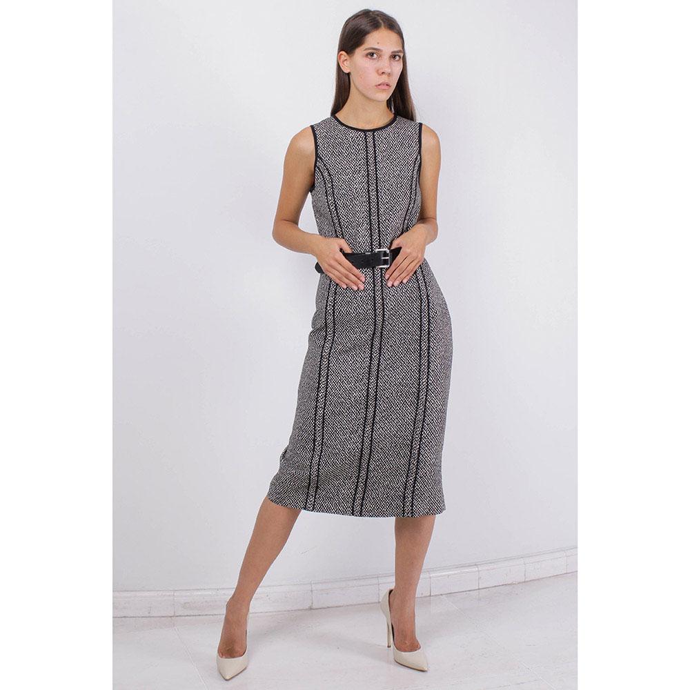 Теплое платье-сарафан Michael Kors серого цвета с черной тонкой полоской