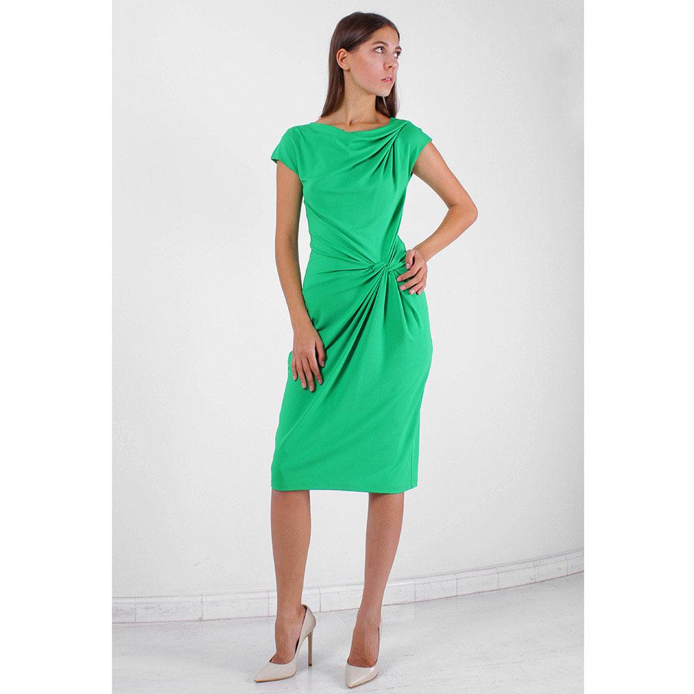 Зеленое платье-футляр Michael Kors с декоративным узлом
