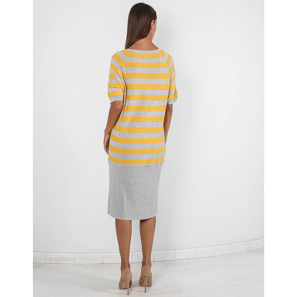 Трикотажное платье Allude серое в желтую полоску