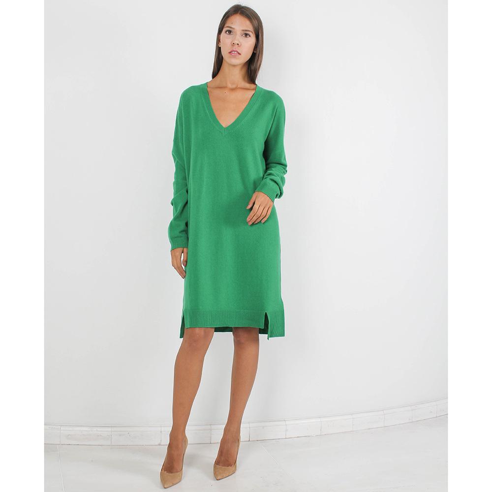 Трикотажное платье Allude прямого кроя зеленого цвета