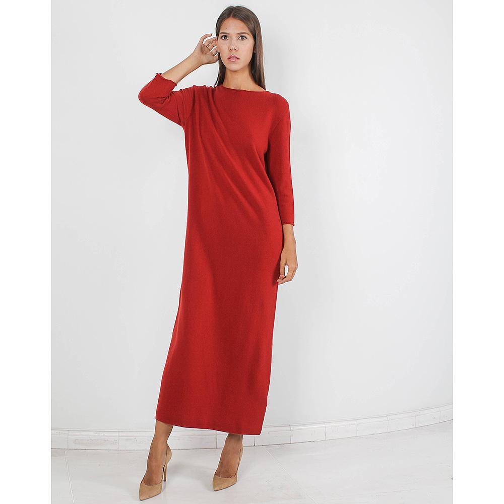 Шерстяное длинное платье Allude терракотового цвета