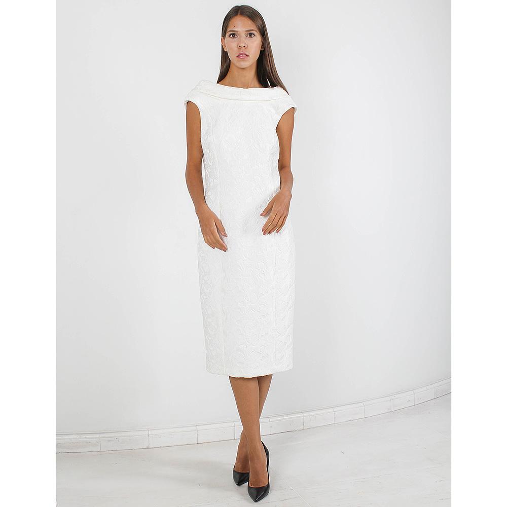 Жаккардовое платье-футляр Badgley Mischka белого цвета