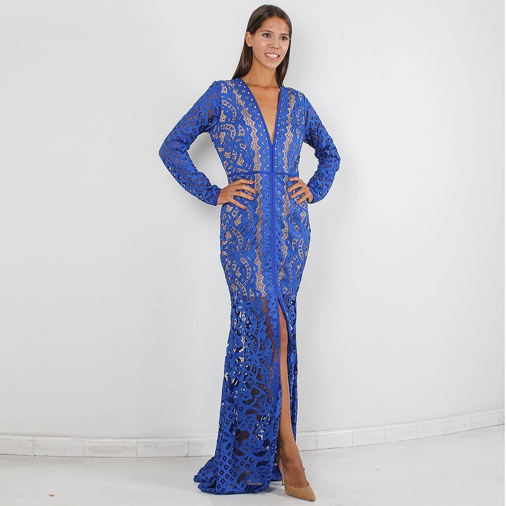 Кружевное платье в пол Forever Unique синего цвета