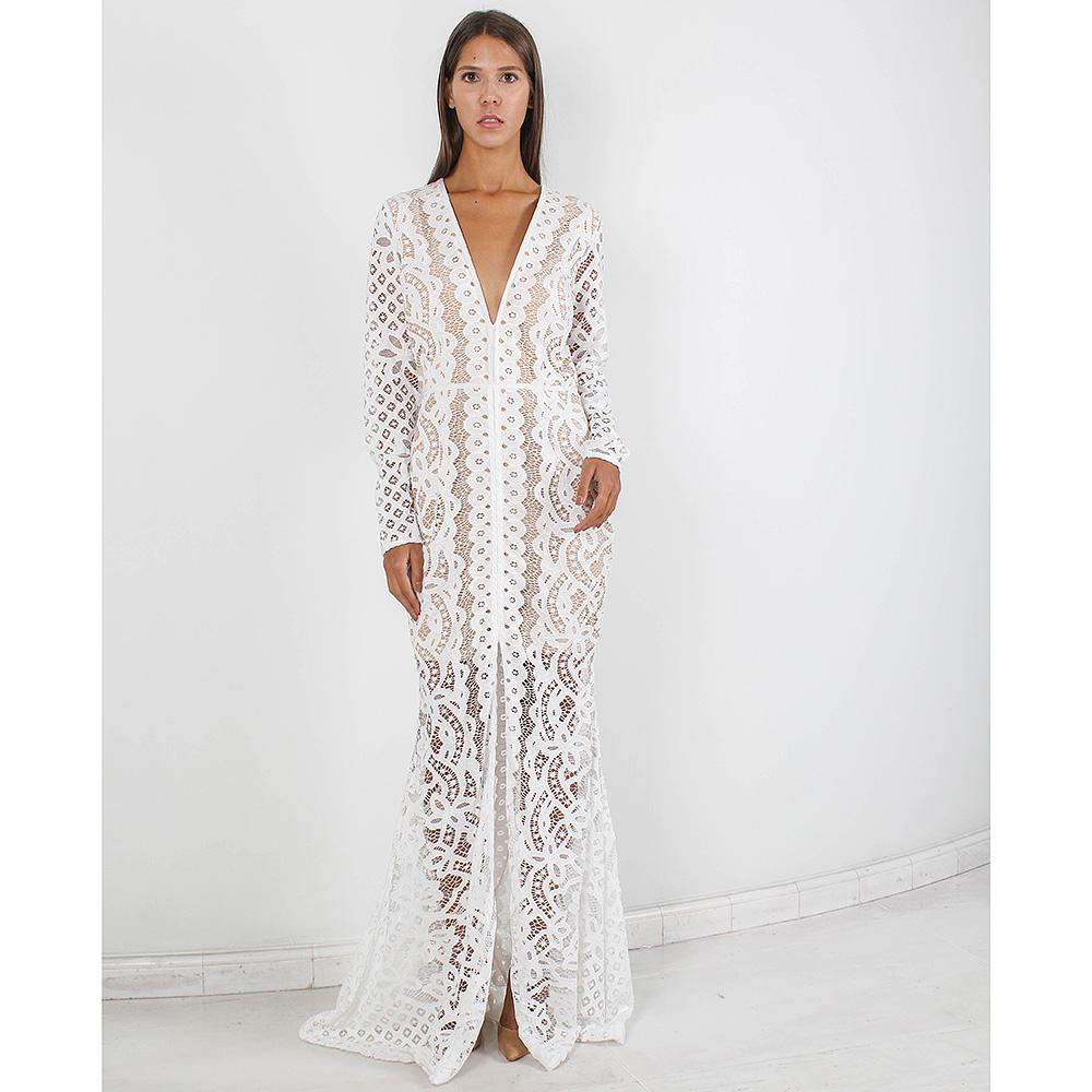 Кружевное платье в пол Forever Unique белого цвета