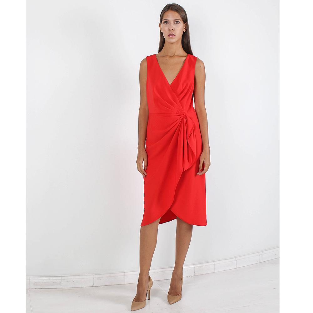 Красное платье Badgley Mischka с защипами