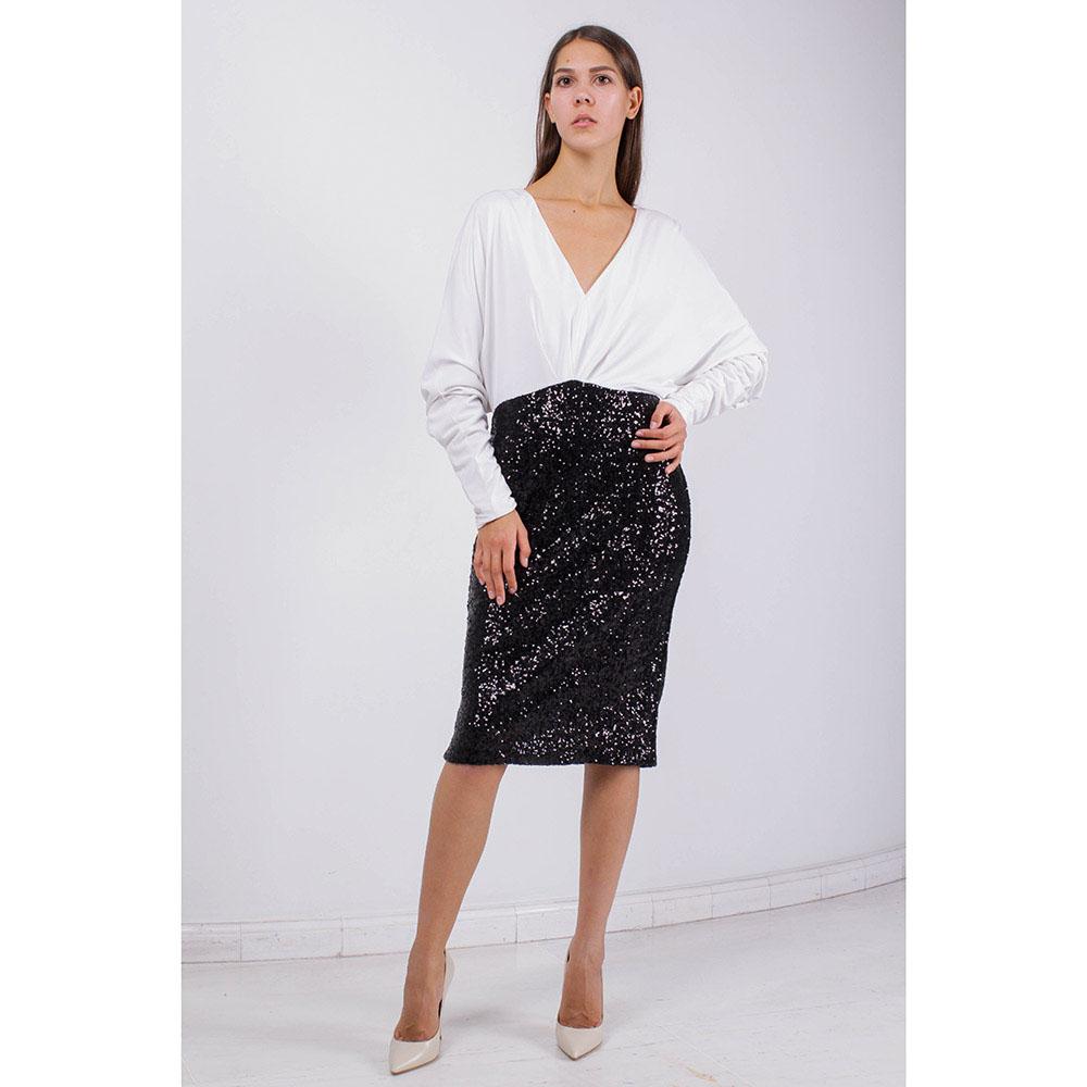 Платье Badgley Mischka с белым свободным верхом и юбкой с пайетками