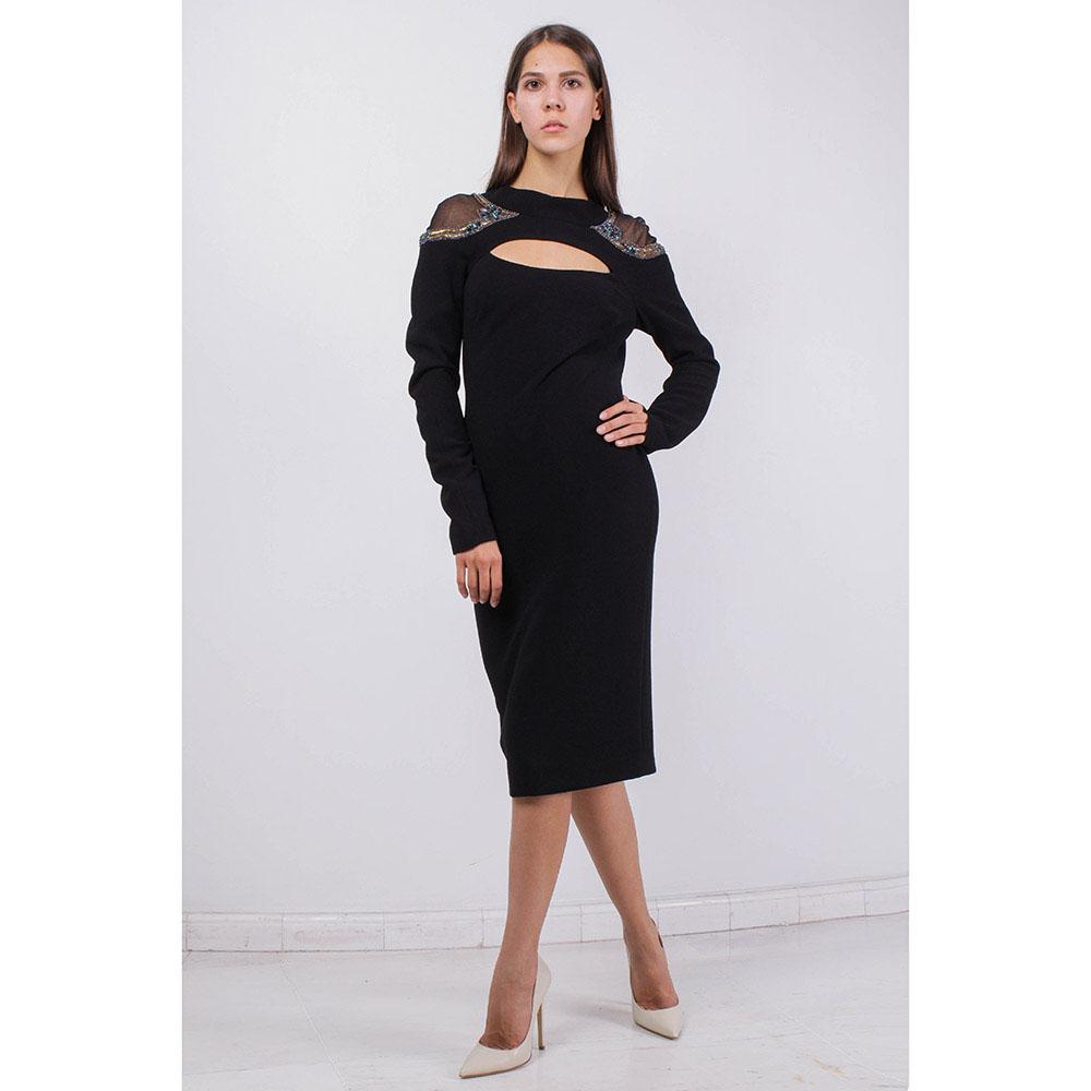Черное платье Badgley Mischka с открытой спинкой и декором на плечах