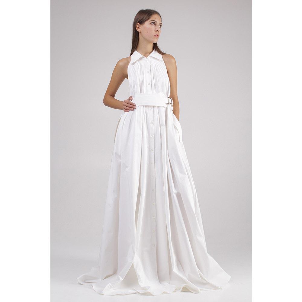 Платье в пол Roberto Cavalli белого цвета