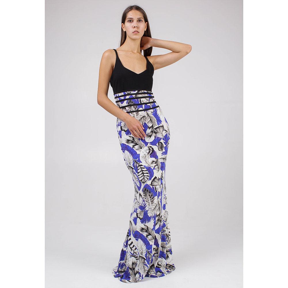 Платье в пол Roberto Cavalli на тонких бретелях с принтом перьями