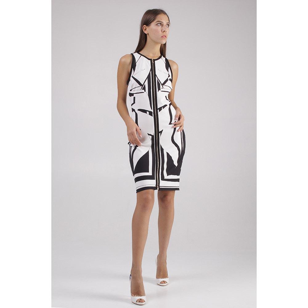 Белое платье Roberto Cavalli с рисунком черного цвета