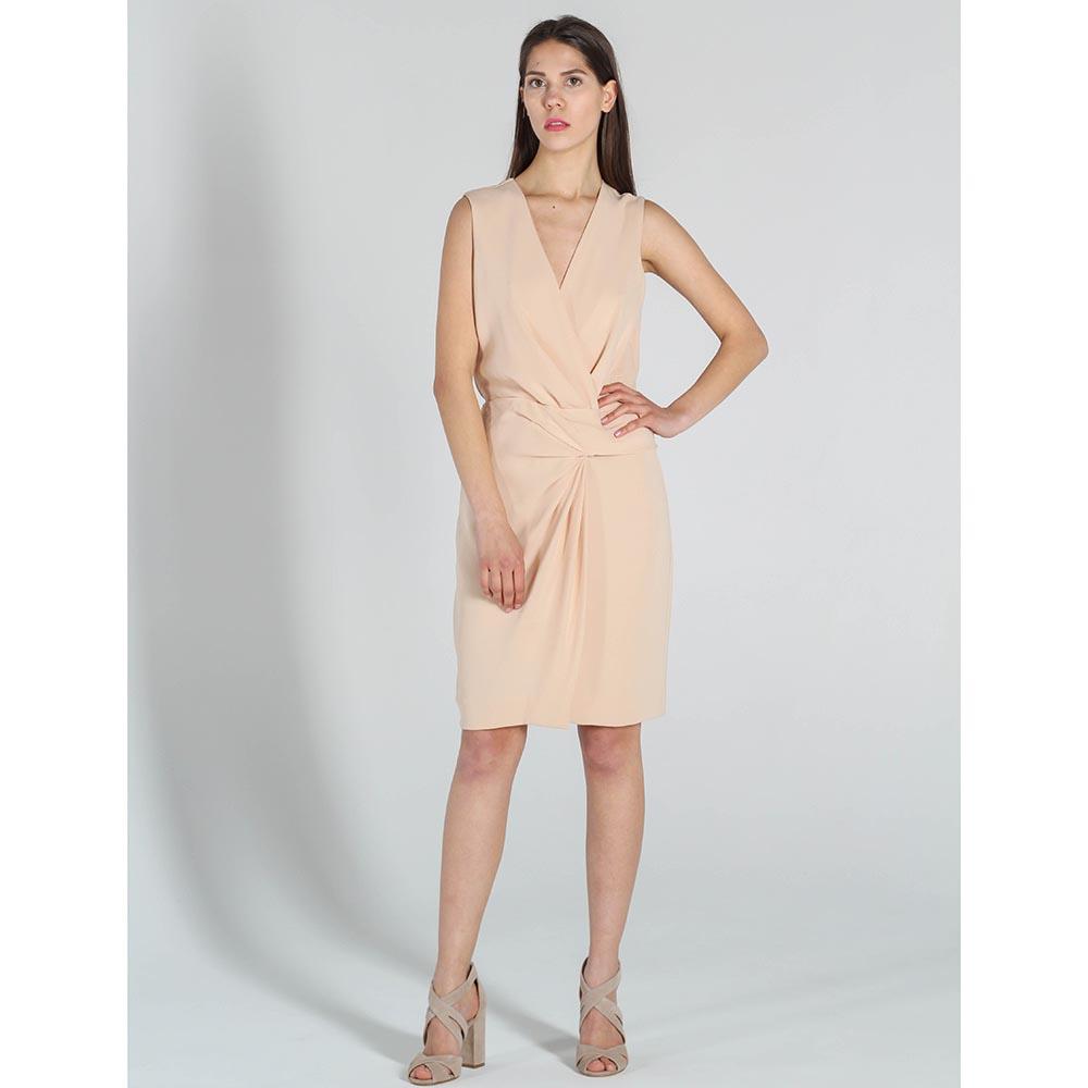 Платье DVF бежевого цвета с запахом