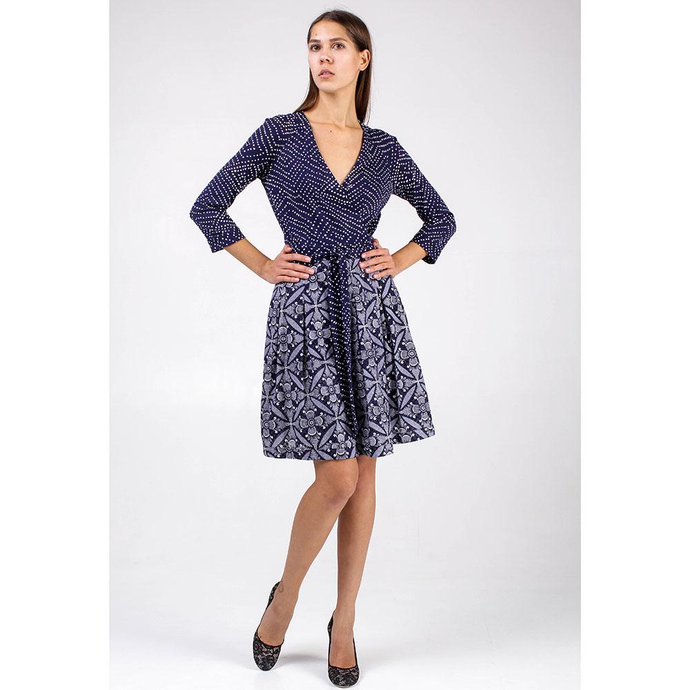 Платье DVF с пышной юбкой до колен синего цвета