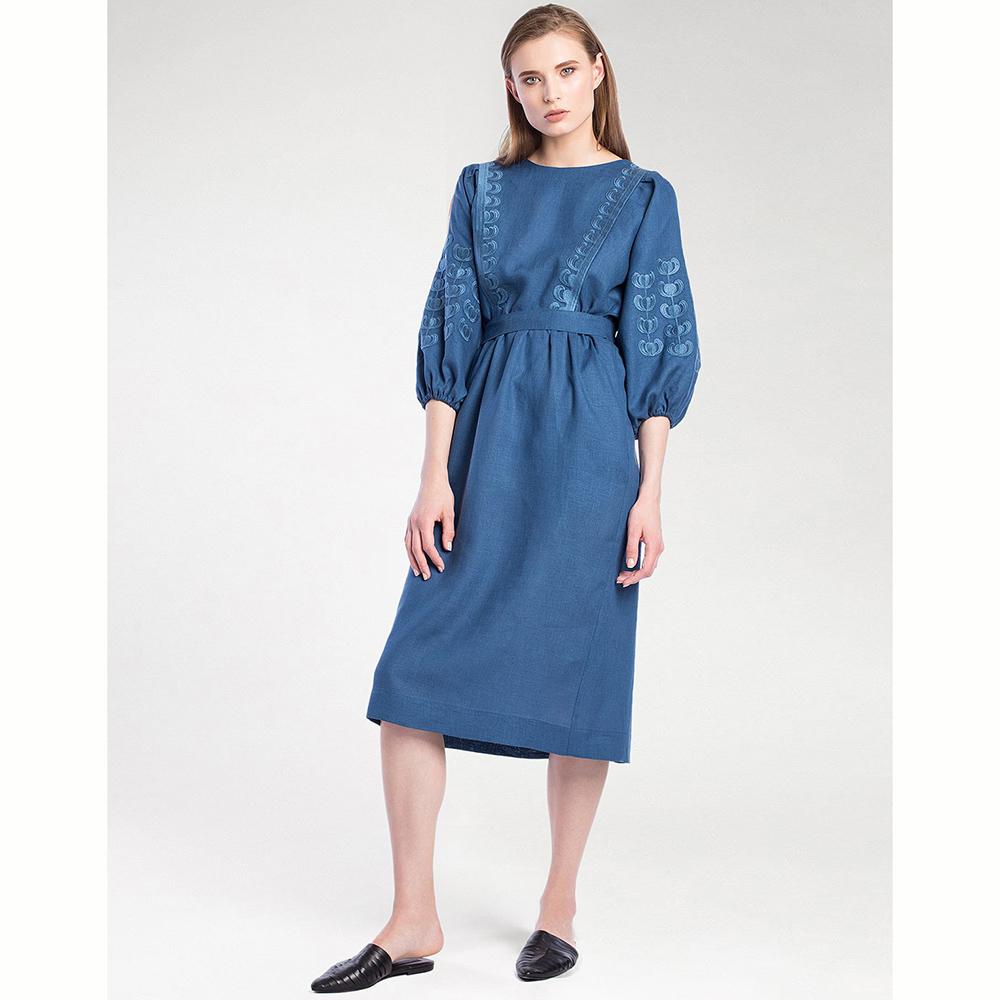 Синеее платье Dolphin с вышивкой