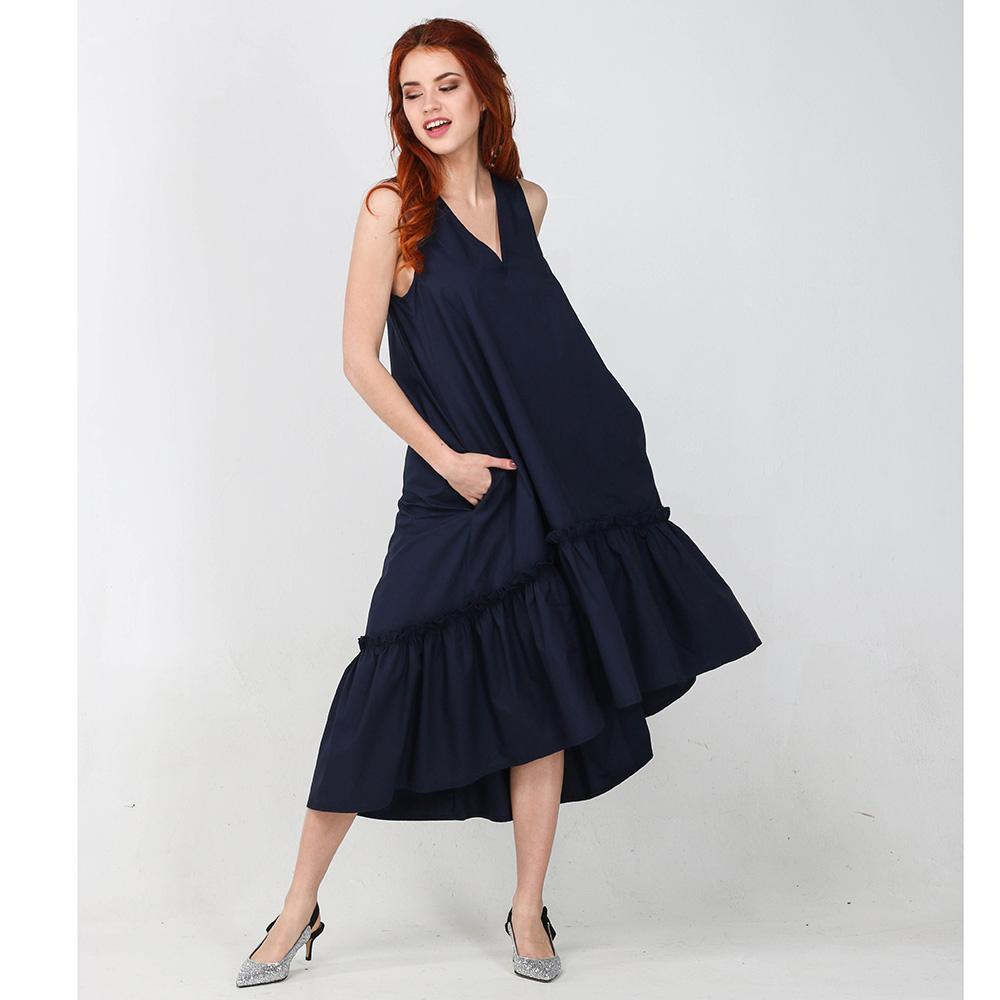 Синее платье-миди Kaos с пышной юбкой
