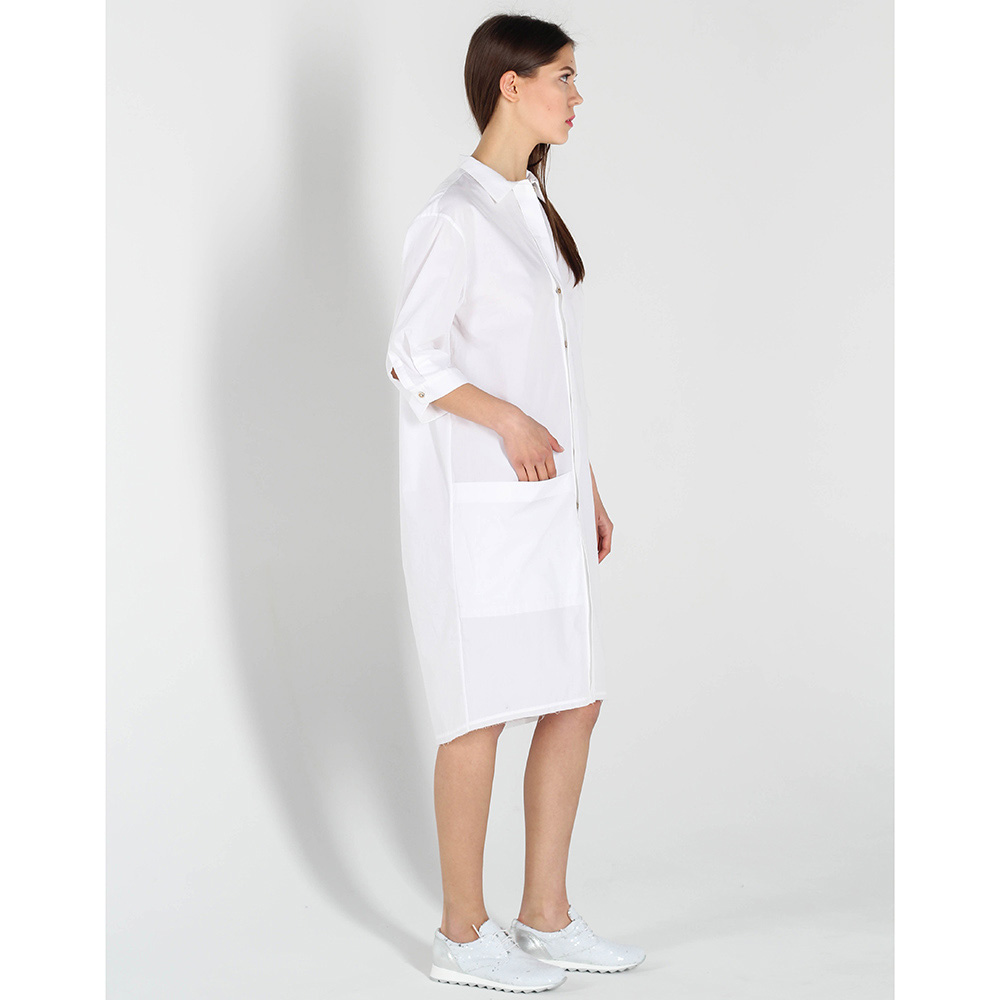 Белое платье-рубашка Vigio с накладным карманом