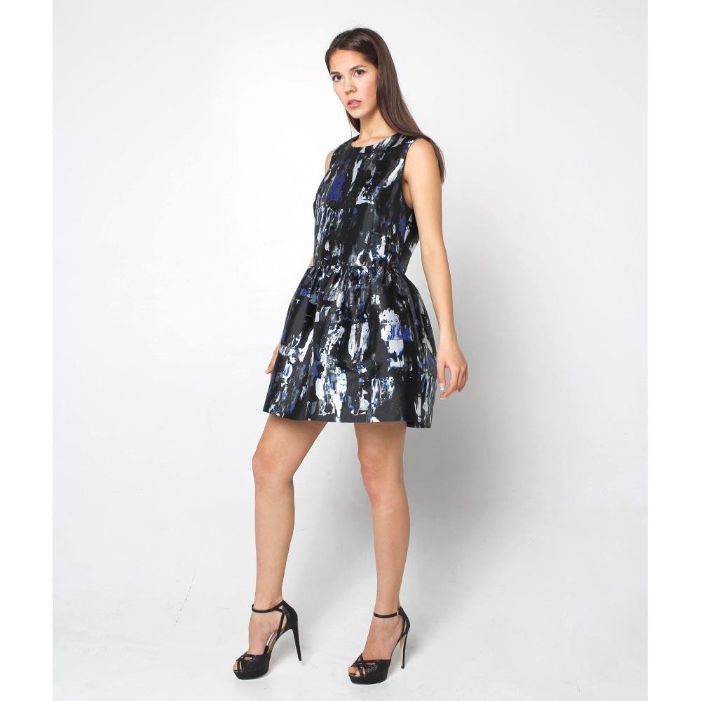 Платье Alexander McQueen с объемной юбкой синего цвета