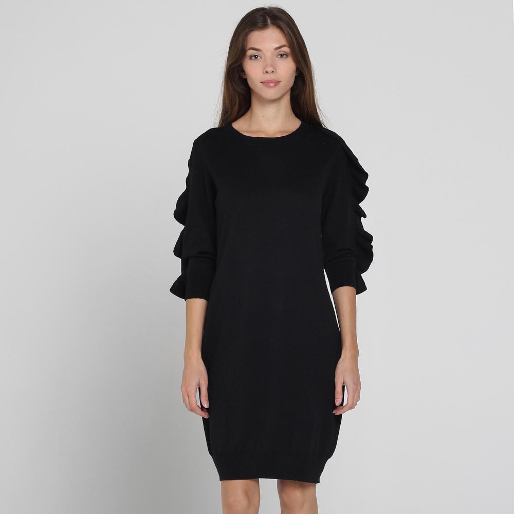 Черное шерстяное платье Blugirl Blumarine с объемными рукавами