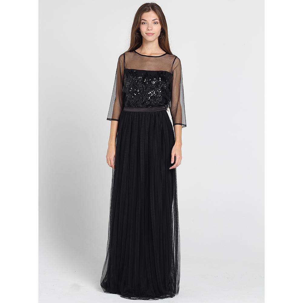 Черное платье в пол Blugirl Blumarine с плиссированной юбкой и бисерной вышивкой бисером