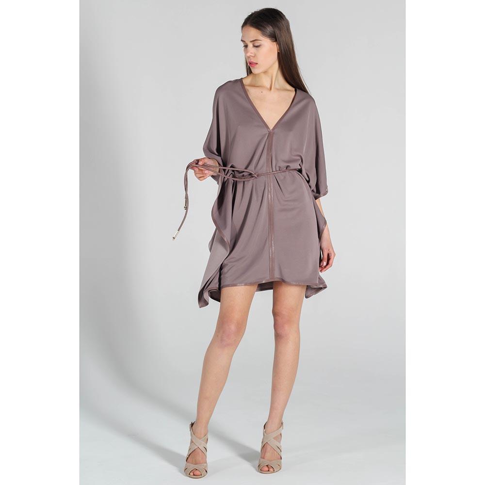 Платье-кимоно Elisabetta Franchi коричневого цвета
