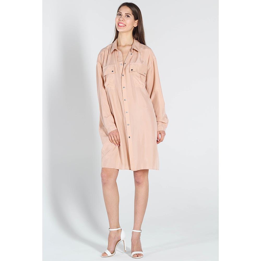 Платье-рубашка Twin-Set Simona Barbieri розового цвета с длинным рукавом