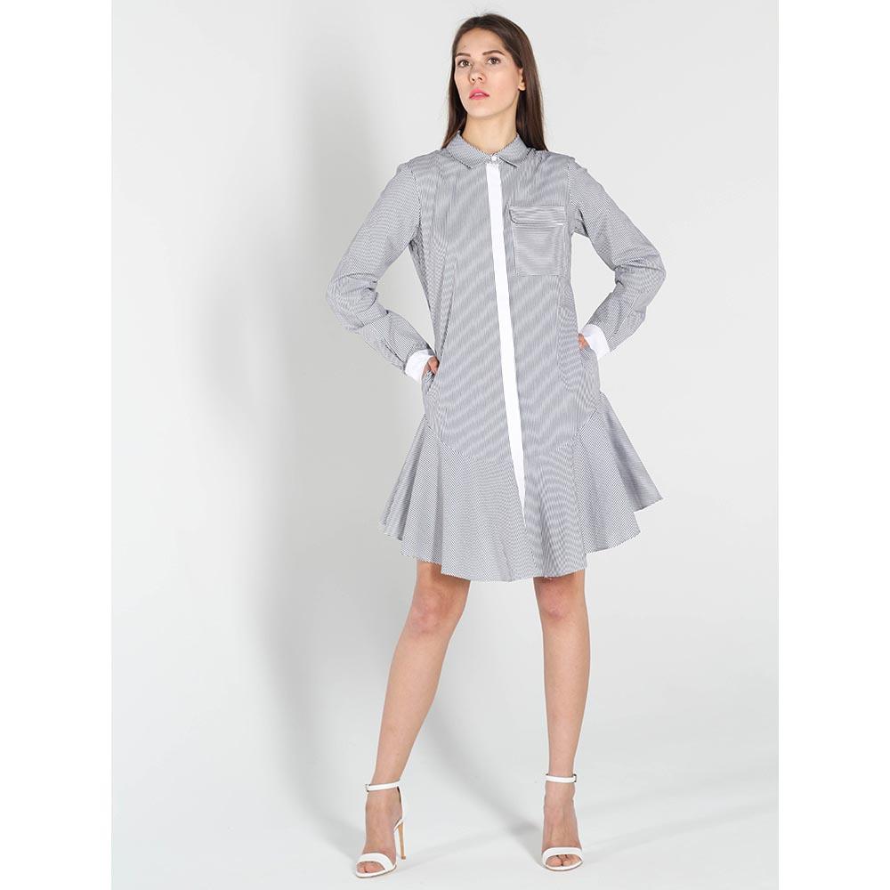 Серое платье Twin-Set Simona Barbieri в полоску с юбкой-клеш