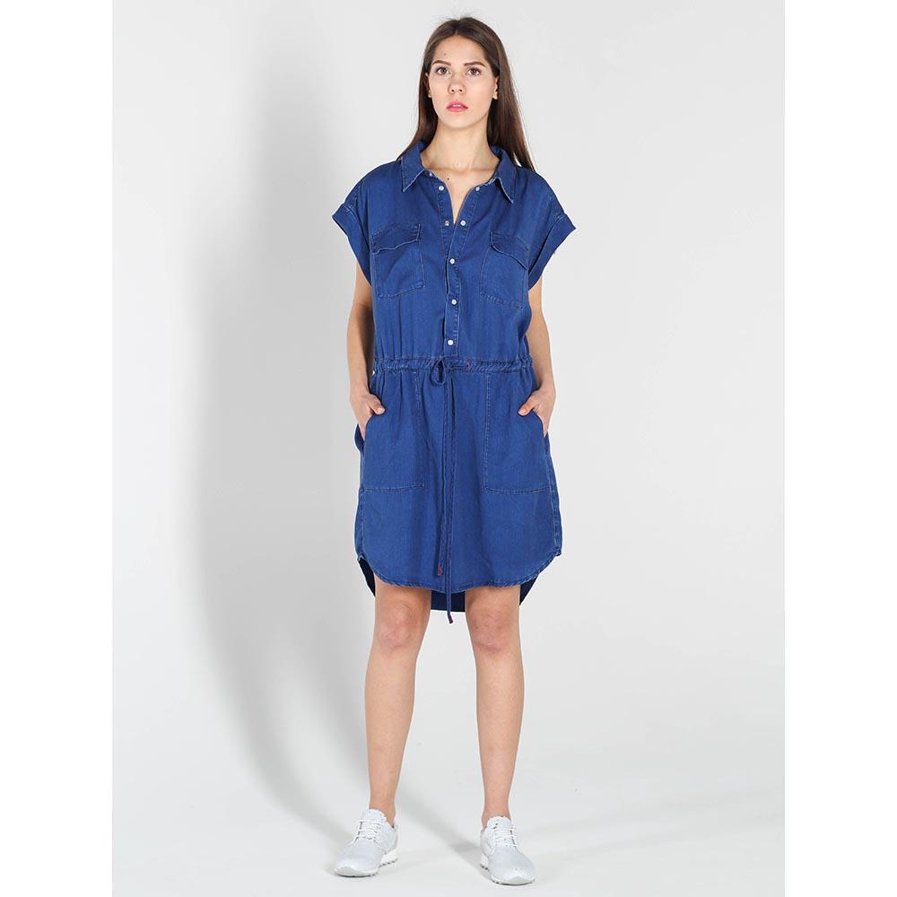 Платье-рубашка Twin-Set Simona Barbieri синего цвета с карманами