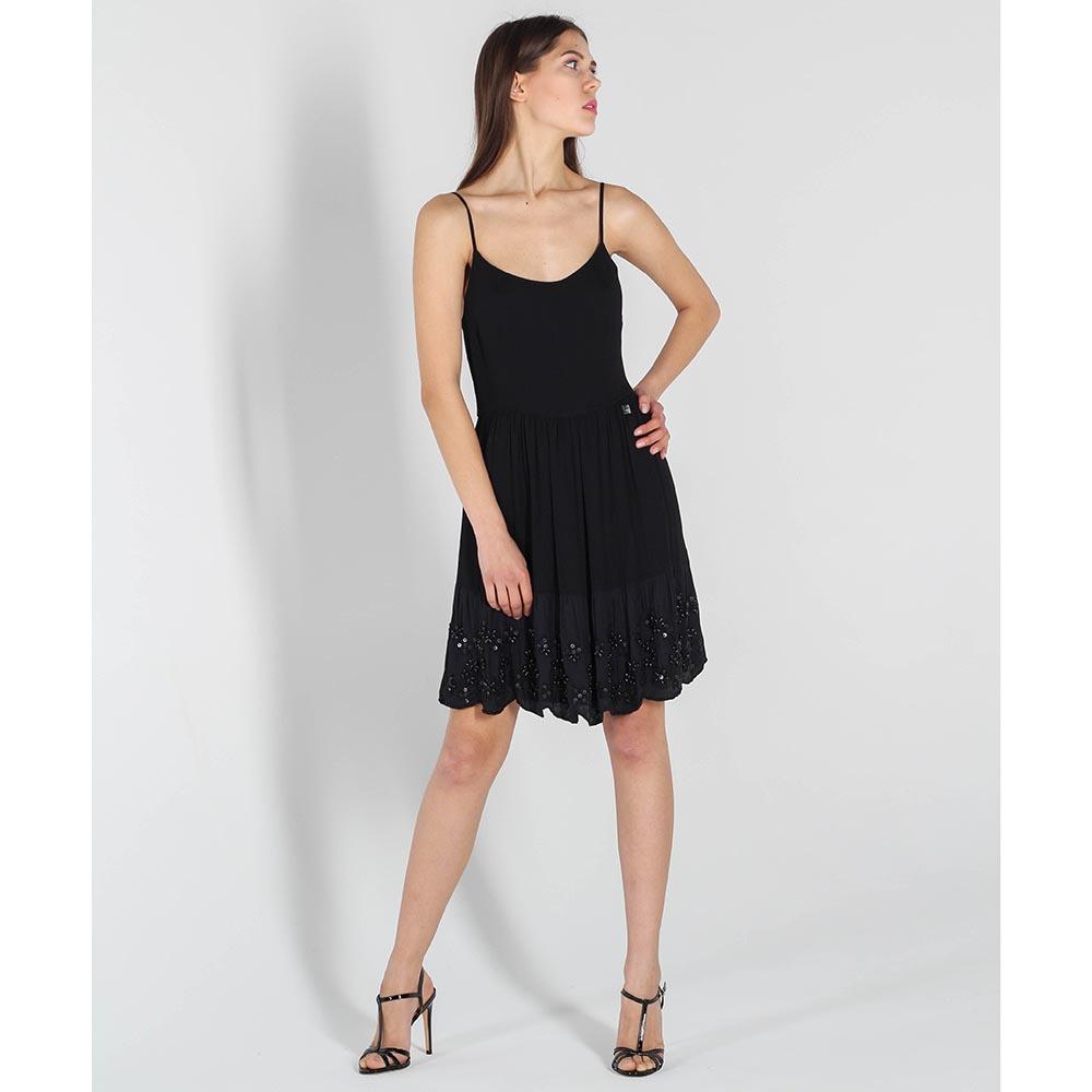 Платье Twin-Set Simona Barbieri на тонких бретелях с вышивкой бусинами на юбке