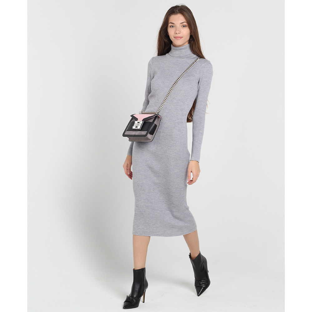 Светло-серое трикотажное платье-гольф Nit.ka