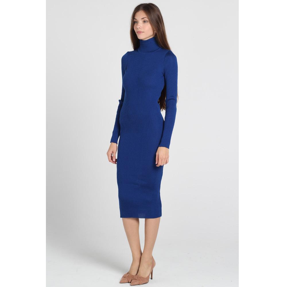 Трикотажное платье-миди под горло Nit.ka синего цвета
