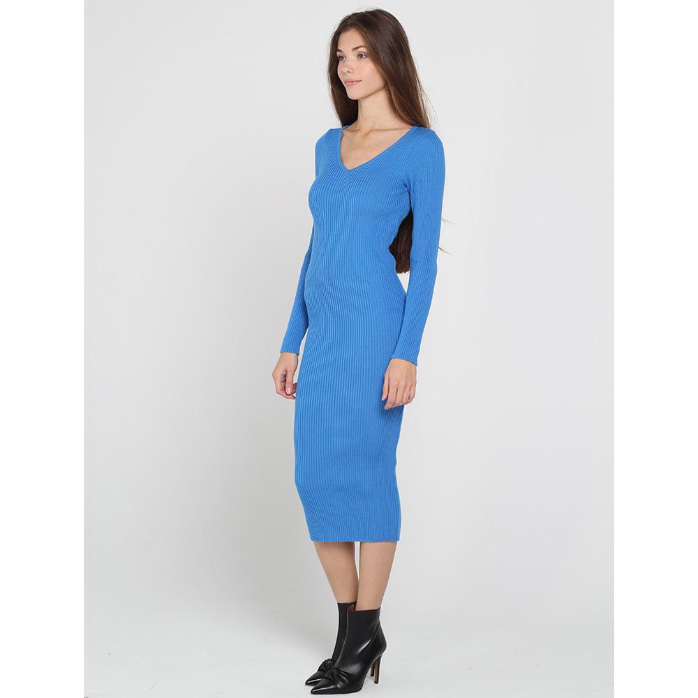 Трикотажное платье-миди Nit.ka голубого цвета с v-образным вырезом