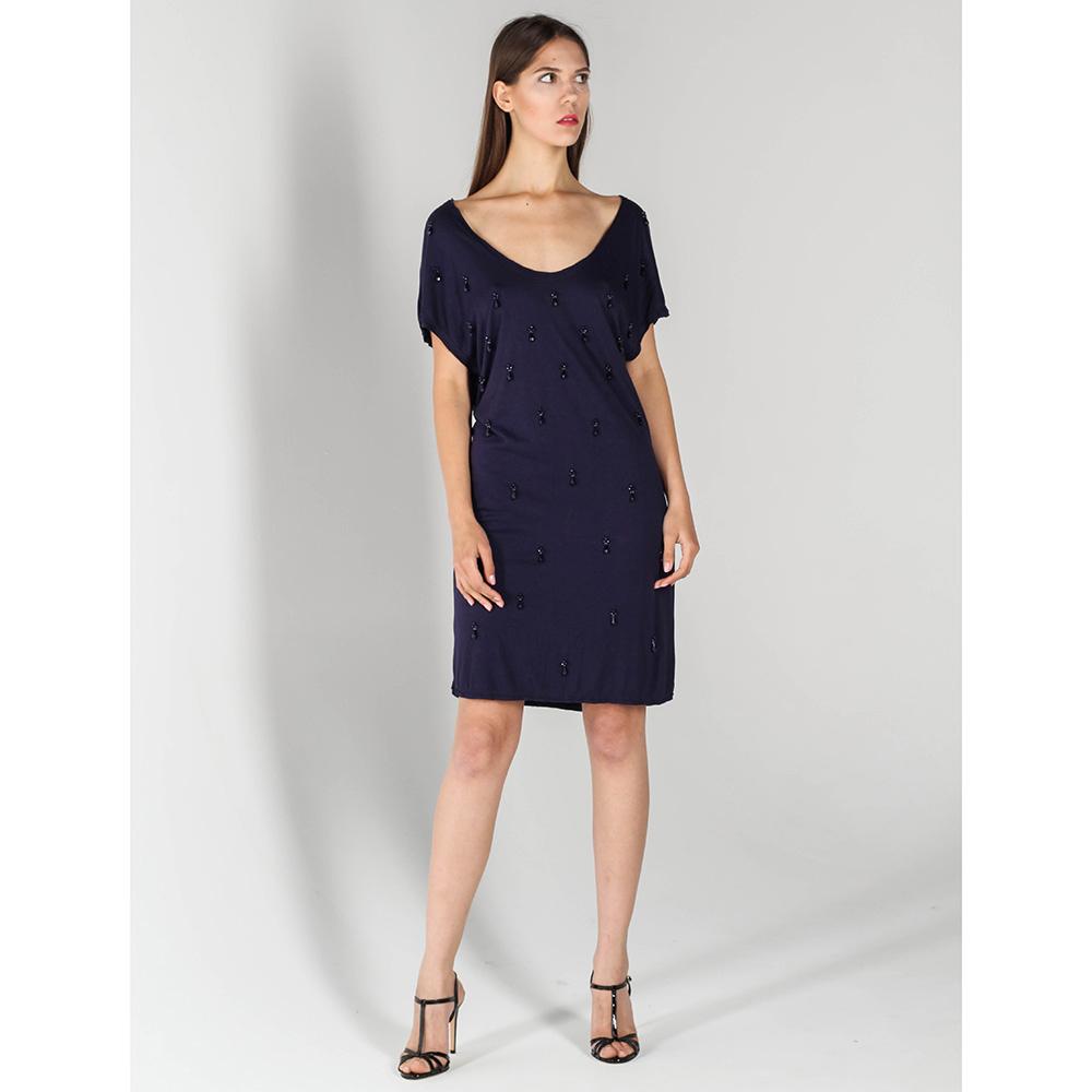 Синее платье P.A.R.O.S.H. прямого кроя с вышивкой бусинами
