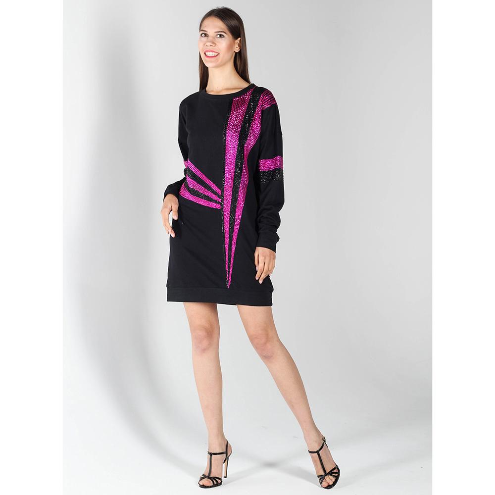 Платье-туника P.A.R.O.S.H. черного цвета с фиолетовой вышивкой пайетками