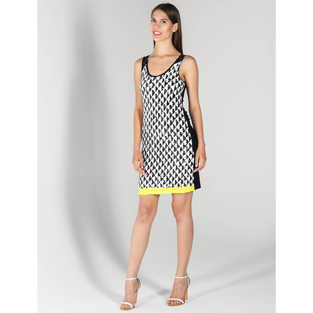 Платье P.A.R.O.S.H. черное с белой вышивкой пайетками
