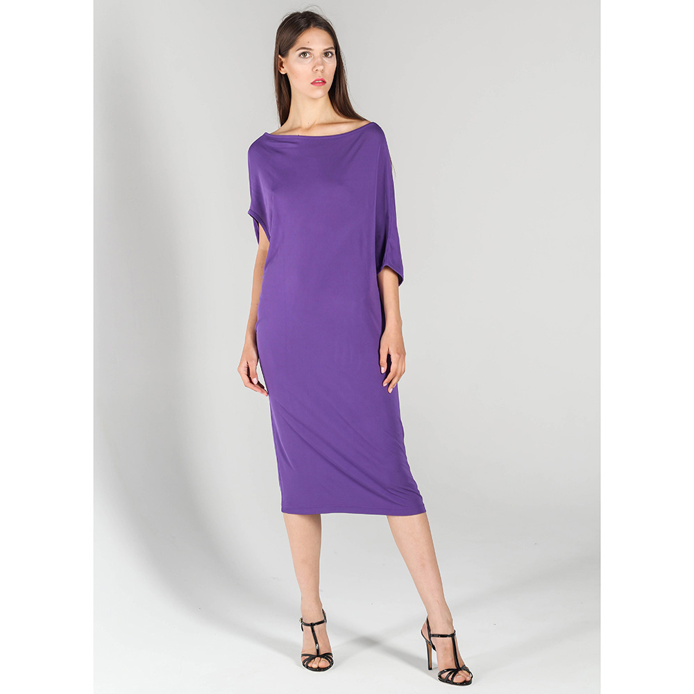 Платье-миди P.A.R.O.S.H. прямого кроя фиолетового цвета