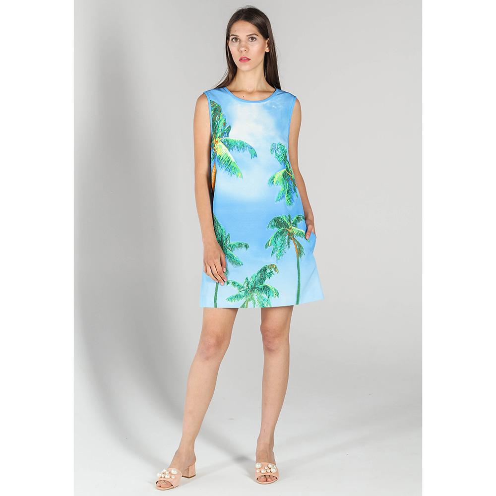 Платье P.A.R.O.S.H. голубого цвета с пальмами
