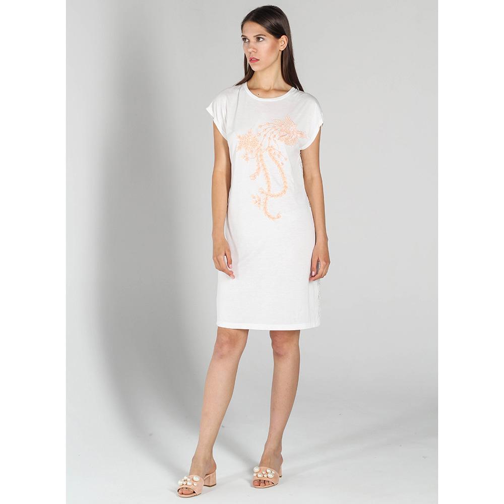Белое платье-футболка P.A.R.O.S.H. с вышивкой пайетками