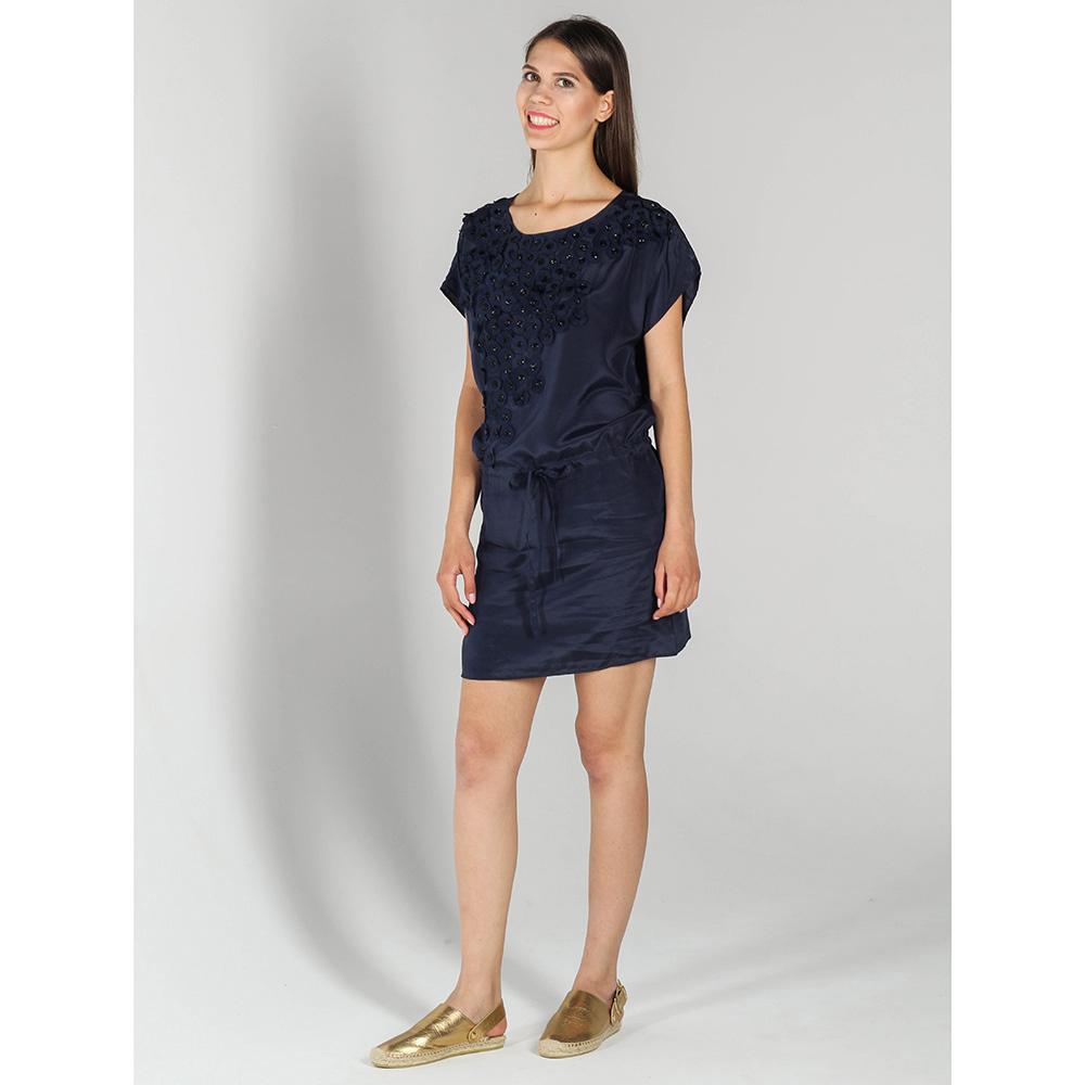 Синее шелковое платье P.A.R.O.S.H. прямого кроя на кулиске