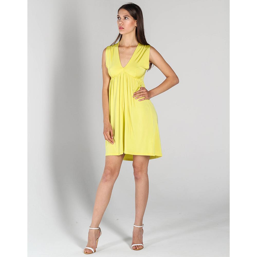 Желтое платье P.A.R.O.S.H. со складками впереди