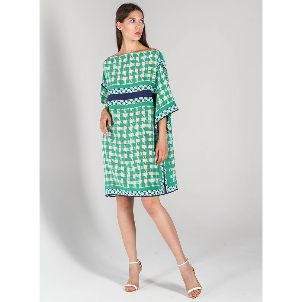 Шелковое платье P.A.R.O.S.H. прямого кроя зеленое в белую клетку